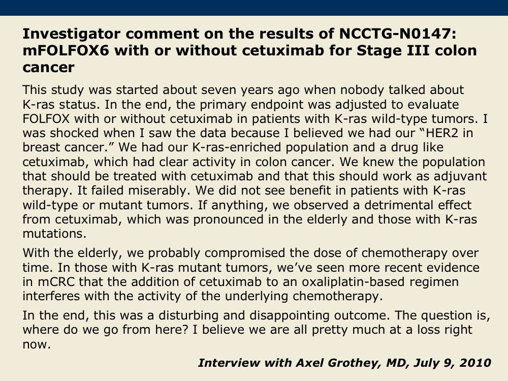 Cetuximab with Chemotherapy as Treatment for Stage III Colon or