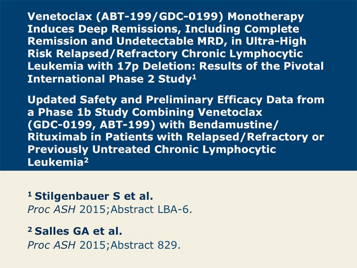 Venetoclax Alone or as Combination Therapy for CLL