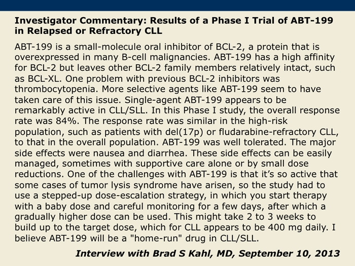 Updated Results Of A Phase I Study Of ABT 199 In Patients